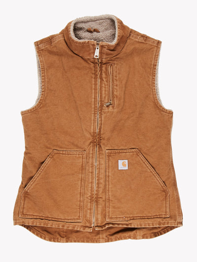 Carhartt Fleece Lined Gilet Brown Size Small