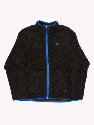Nike Zip Up Fleece Black/Blue Size XL