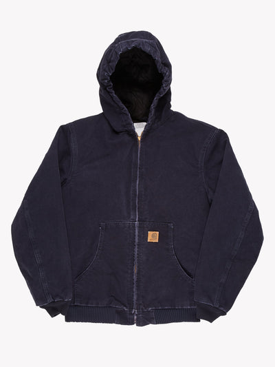 Carhartt Denim Zip Up Hooded Jacket Navy Size Small