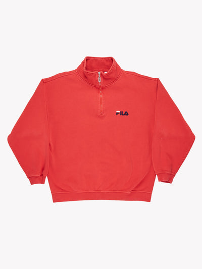 Fila 1/4 Zip Fleece Red Size Large