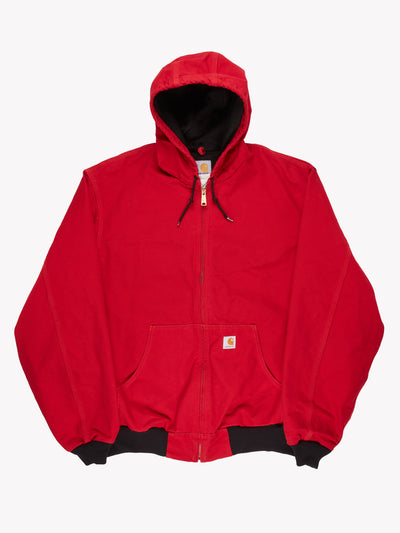 Carhartt Zip Up Hooded Jacket Red Size XL