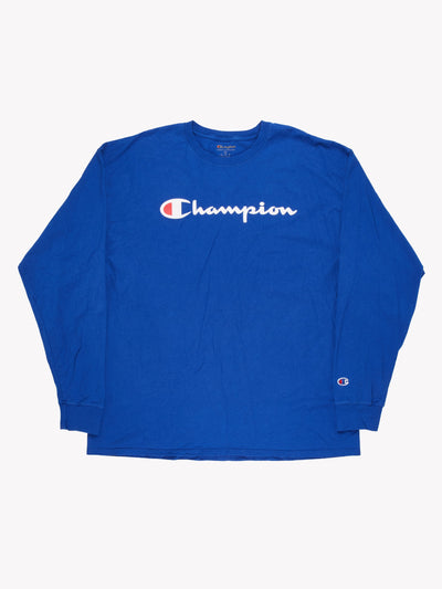 Champion Long Sleeve T-Shirt Blue/White Size XXL