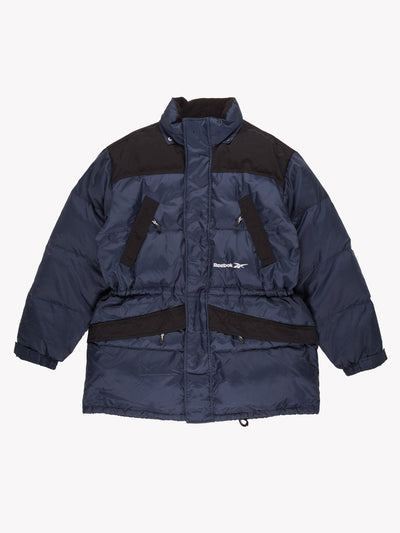 Reebok Puffer Coat Blue/Black Size Large