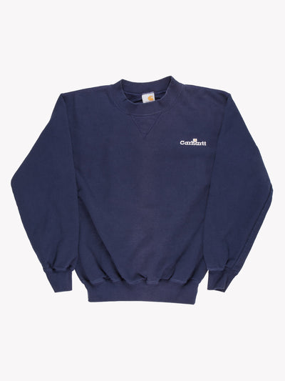 Carhartt Embroidered Sweatshirt Navy Blue Size Small