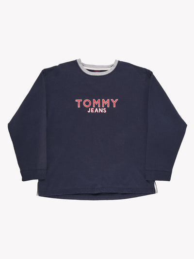 Tommy Hilfiger Spell Out Sweatshirt Navy Blue Size XXL