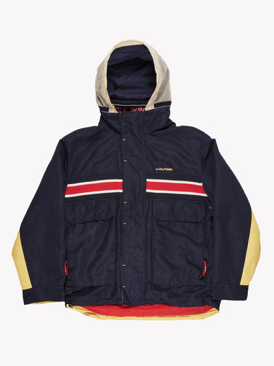 Tommy Hilfiger Coat with Stripe Navy Blue Size Large