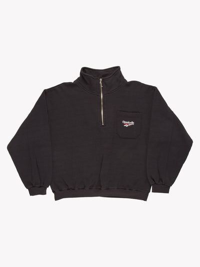 Reebok Quarter Zip Sweatshirt Black Size Large