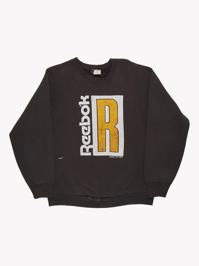 Reebok Sweatshirt Black/White/Yellow Size Large