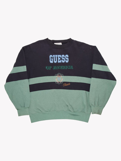 Guess Sweatshirt Navy/Green Size Large