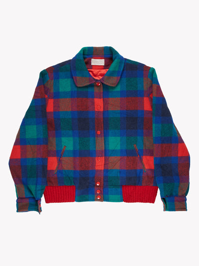 Pendleton Check Jacket Blue/Green/Red Size Large