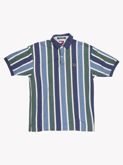 Tommy Hilfiger Stripe Polo Shirt Blue/Green/White Size Medium