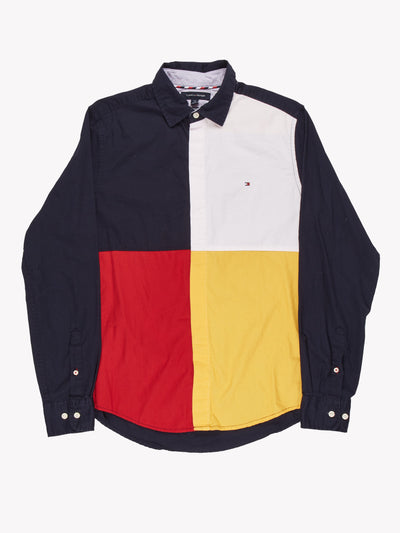 Tommy HIlfiger Colour Block Shirt Navy/White/Red/Yellow Size Small