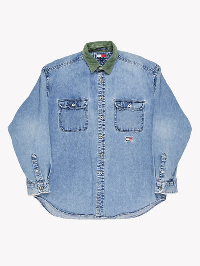 Tommy Hilfiger Denim Shirt Blue/Green Size Large