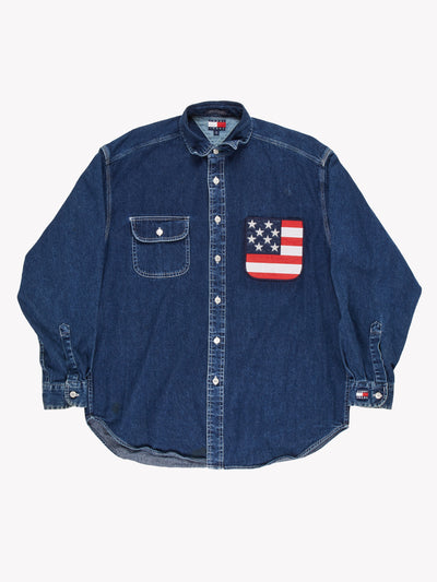 Tommy Hilfiger Denim Shirt Blue Size Medium