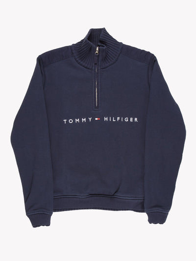 Tommy Hilfiger Quarter Zip Sweatshirt Navy Size Medium