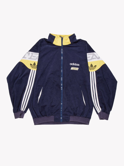 Adidas Velour Jacket Navy/White/Yellow Size XL