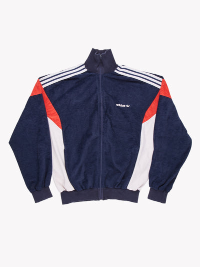 Adidas Velour Jacket Navy/White/Red Size Large