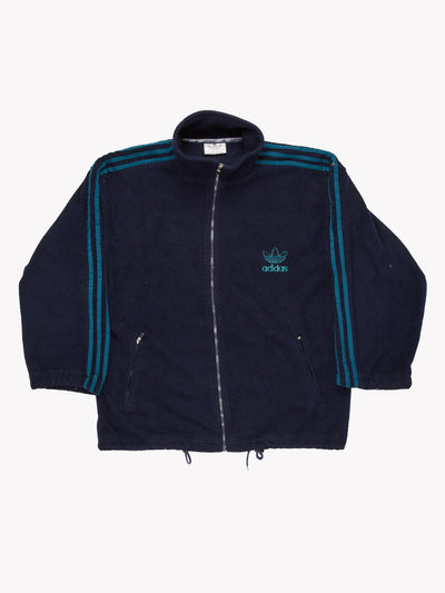 Adidas Zip Up Fleece Navy/Green Size XL