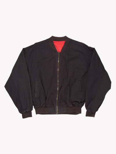 Marlboro Reversible Spell Out Zip Up Cotton Bomber Jacket Black / Red Size Large