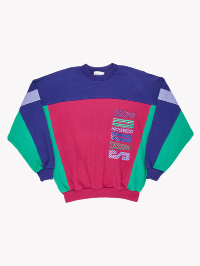Adidas Vintage Sweatshirt Pink/Purple/Green Size Medium