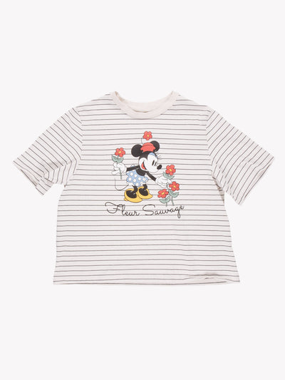 Minnie Mouse 'Fleur Sauvage' T-Shirt White/Black/Red Size Small