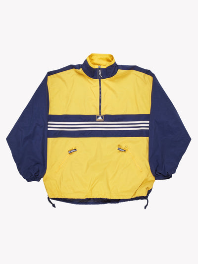 Adidas Pull Over Jacket Yellow/Navy Size Large