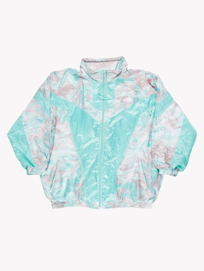 Adidas Wind Breaker Style Jacket Green/Pink Size Medium