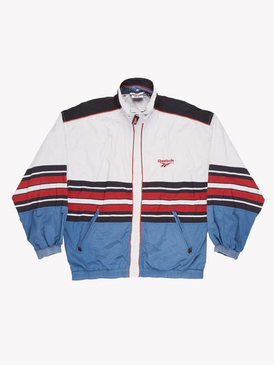 Reebok Jacket White/Blue/Red Size Medium