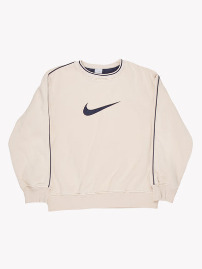 Nike Sweatshirt Cream/Navy Size Large