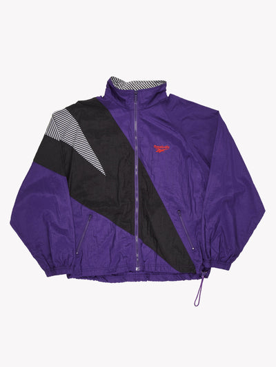 Reebok Windbreaker Style Jacket Purple/Black/White Size Medium