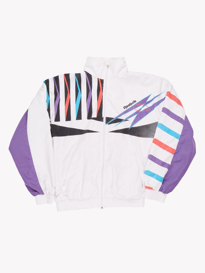 Reebok Jacket White/Purple/Black Size Medium