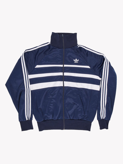 Adidas Vintage Zip Thru Sweatshirt Navy/White Size Large