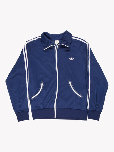 Adidas Vintage Zip Thru Sweatshirt Navy/White Size Medium