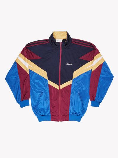 Adidas Vintage Zip Thru Navy/Blue/Yellow/Burgundy Size Large