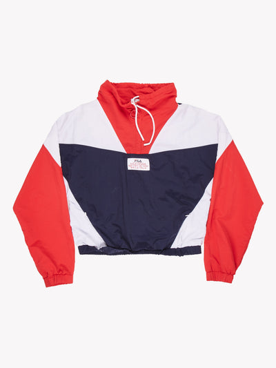 Fila Cropped Pull Over Jacket Navy/White/Red Size Medium