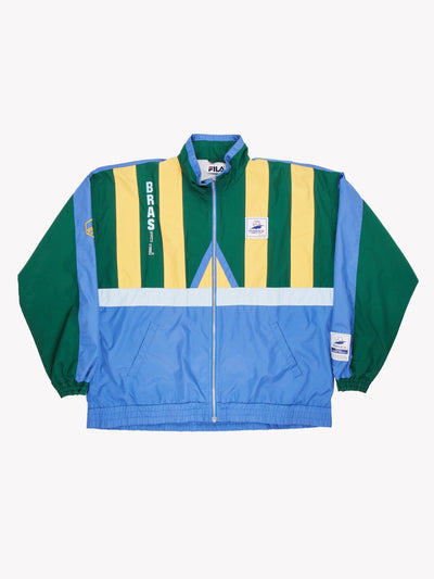 Fila Brasil France 1998 World Cup Jacket Blue/Green/Yellow Size Large