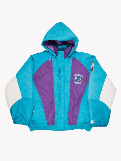 Starter Charlotte Hornets NBA Jacket Blue/Purple/White Size XL