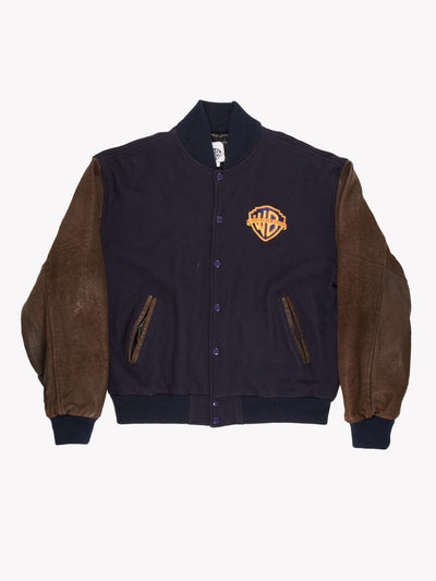 Warner Bros Studios Varisty Jacket Navy/Brown Size Large
