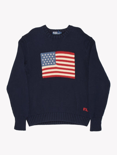 Ralph Lauren Knit Jumper Navy/Red/White Size Large