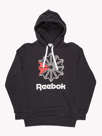 Reebok Hoodie Black/White/Red Size Small