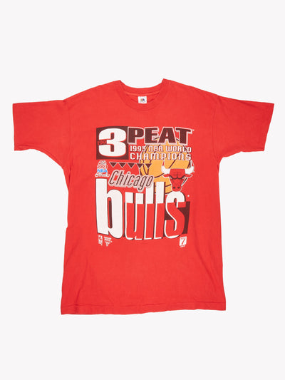 1993 3Peat Chicago Bulls NBA T-Shirt Red/White/Black Size XL