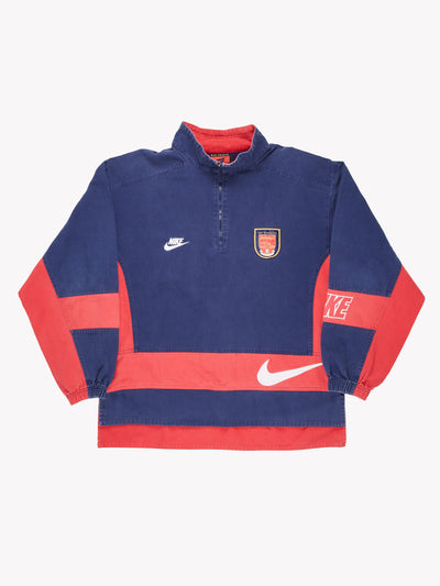 Nike 1990's Arsenal Drill Top Blue/Red Size Large