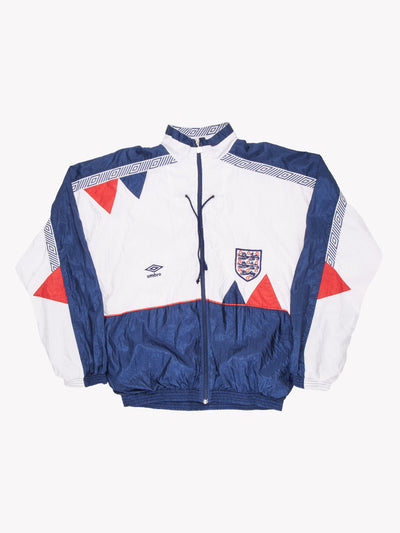 1990-92 Umbro England Football Shell Track Top White/Navy/Red Jacket Large