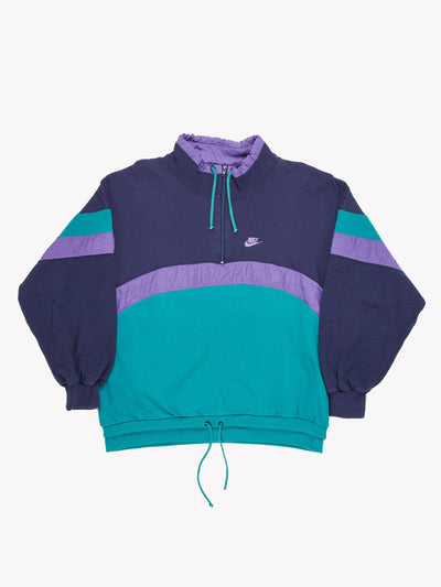 Nike Quarter Zip Sweatshirt Purple/Green Size XL