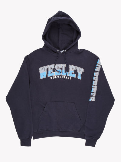 Champion 'Wesley Wolverines' Hoodie Blue/Grey/White Size Small