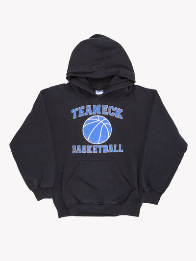 Vintage Teaneck Basketball Hoodie Black/Blue Size Small