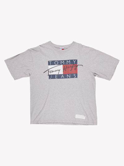 Tommy Hilfiger T-Shirt Grey/Blue/White/Red Size Large