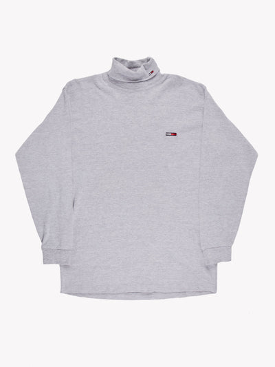 Tommy Hilfiger Long Sleeve Roll Neck Jumper Grey Size XL