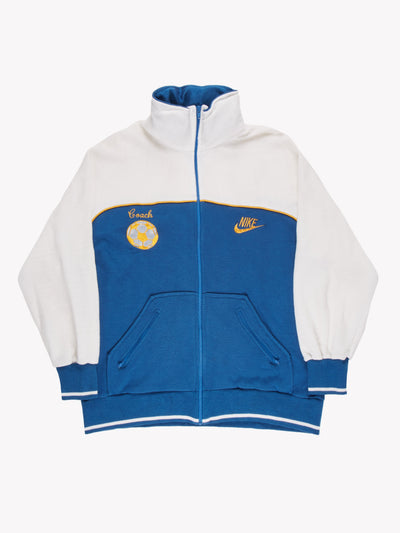 Nike Zip Thru Coach Jacket Blue/White/Yellow Size XL