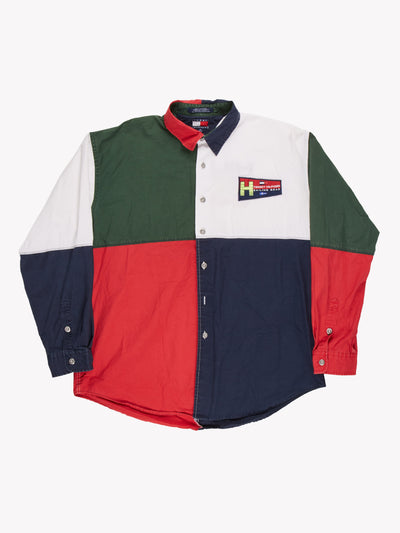 Tommy Hilfiger Sailing Gear Colour Block Shirt Green/Red/White/Navy Size XL